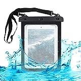 kwmobile Custodia Impermeabile per Tablet Borsa da Spiaggia - Beach Bag Busta 9.7-10.1' Protezione Acqua Sabbia - Astuccio Waterproof - Nero