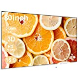 Anti-Light Projector Screen for LED Projectors 5times Gain Portable Foldable Good at Day Time Use 80inch(Silver)