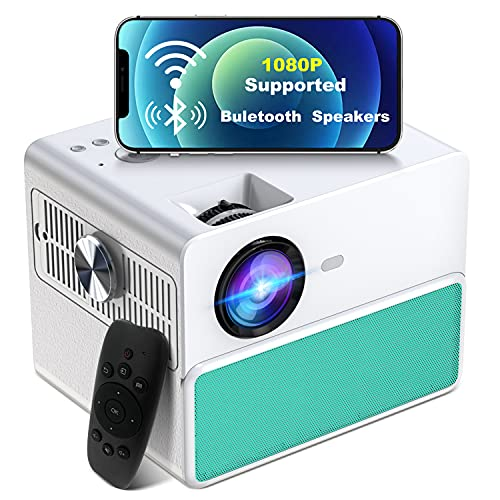 Beamer, 8000 Lumen TOWOND Full HD 1080P Beamer 5G WiFi Bluetooth Beamer LED Heimkino Projektor Unterstützung 4K Video mit 4D Trapezkorrektur&-50% Zoom Beamer Als Bluetooth-Lautsprecher Verwenden -Blau