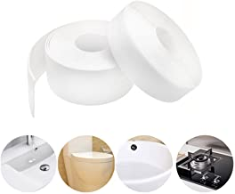 "Storystore Caulk Strip PE Self Adhesive Tape for Bathtub Bathroom Shower Toilet Kitchen and Wall Sealing, 1-1/2"" x 11'-Whi..."