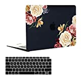EkuaBot Black Peony MacBook Pro 13 inch Case & Keyboard Cover (A2159/A1989/A1706/A1708, New Version 2016-2019 Release), Matt Hard Case Only Compatible MacBook Pro 13.3 with/Without Touch Bar