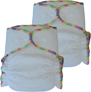 Fitted Cloth Diaper: Overnight Diaper with 2 Cotton Bamboo Inserts, One Size with Snap Buttons