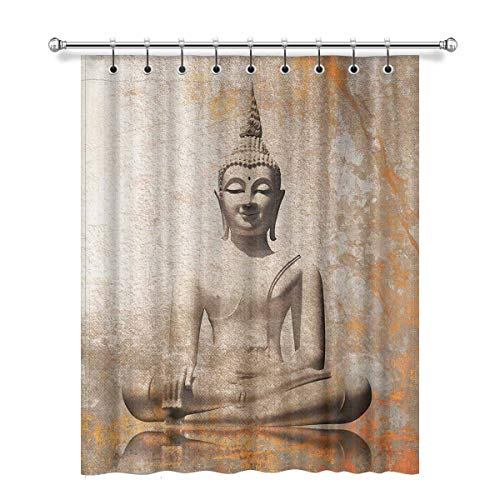 InterestPrint Buddha Meditation Background Blackout Window Curtain Panels Thermal Insulated Window Curtain with Rings for Living Room Bedroom, 52 x 63 Length, 1 Pc