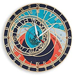 Prague Orloj Astronomical Large wooden Wall Clock, Handcrafted Home Decor for Kitchen, Living Room and Office, Unique Decorative historical Art, Cool Gift