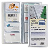 Favorit 100460553 Porta Biglietti da Visita, Copertina con Tasca Personalizzabile, 20 Buste Fisse a 4 Tasche Formato 6X10(X4), Trasparente