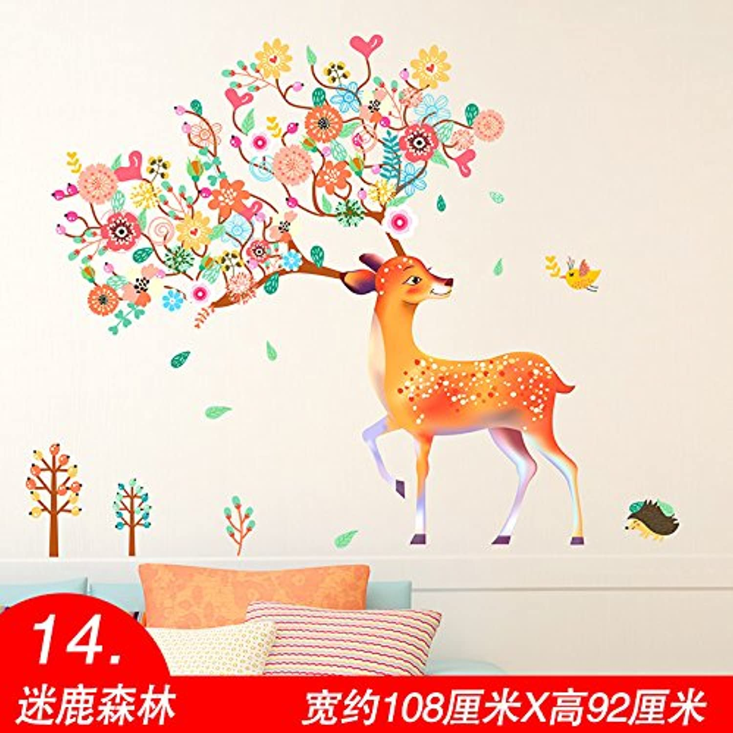 Znzbzt Bedroom Wall Sticker Art Decor Personalized Wall Art self Adhesive Wallpaper Wall Mount, Forest