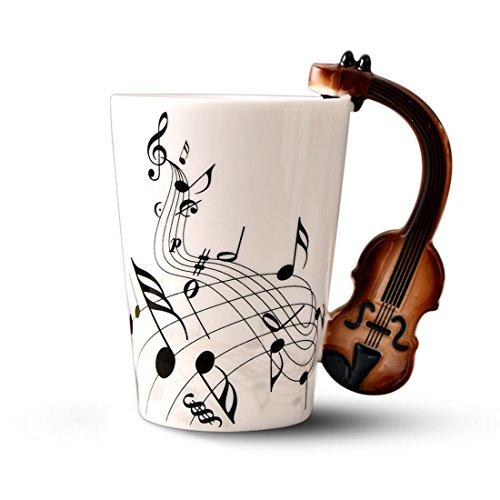 SODIAL Taza de Ceramica del Manejar de Violin de la Novedad Creativa Espectro Libre Taza de te de Leche cafetaza de la Personalidad Taza Regalo Instrumento Musical Unico