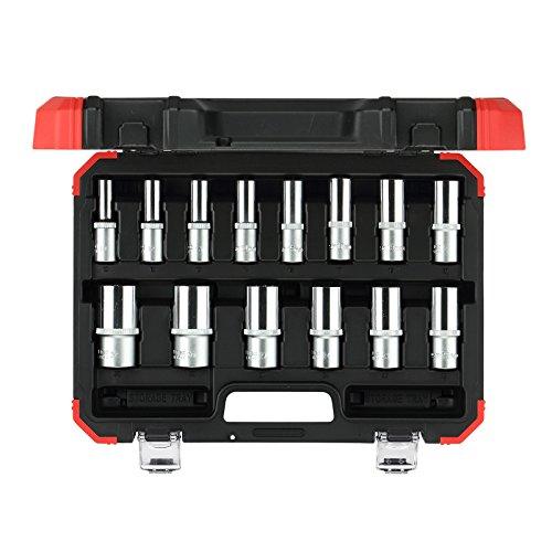 GEDORE rode dopsleutelset 1/2 inch lange uitvoering, 14-delig