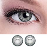 Diamond Eye Monthly Grey Colored Contact Lenses 0 Power + Multi Plus Solution with Lens Storage Box