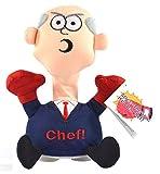 Kögler 75578 - Stoffpuppe Stress - Max Chef mit Aufdruck, Figur mit Saugnäpfen an der Unterseite, ideal zum Abbau von Stress, Wut und Aggressionen