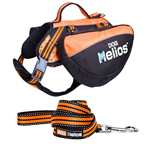 DOGHELIOS Freestyle 3-in-1 Explorer Sporty Fashion Convertible Pet Dog Backpack, Harness and Leash, Medium, Orange