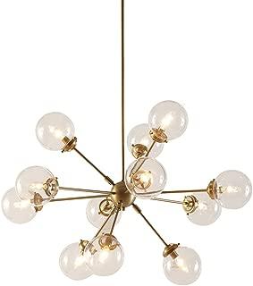 INK+IVY Paige Twelve Modern Chandeliers-Height Adjustable, Plated Finish, Glass Sphere Shades Pendant Sputnik Ligthing Lamp Ceiling Dining Room Lighting Fixtures Hanging, LED Compatible, Gold