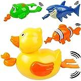 alles-meine.de GmbH 4 Stück _ Aufziehtiere / Badewannenspielzeug - lustige Tiere - zum Aufziehen - schwimmt selbst im Wasser - Schwimmtier / aufziehen - für Badewanne / Badespiel..