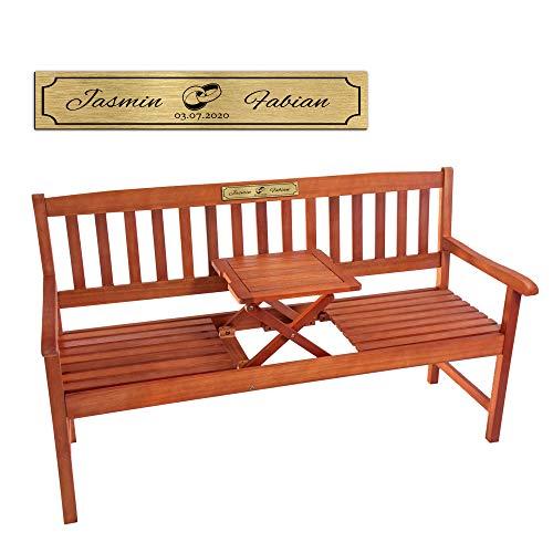 Casa Vivente Personalisierte Friesenbank mit Aufklappbarem Tisch, Goldene Plakette mit Namen und Datum, Motiv Ringe, Eukalyptus-Holz, 150 x 69 x 94 cm