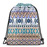 Bingyingne Art Revival Indian Mochila con cordón Gimnasio Saco Cinch Bag String Bag