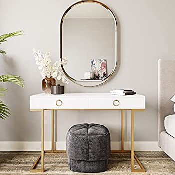 BELLEZE Modern Makeup Vanity Dressing Table or Home Office Computer Laptop Writing Desk with Two Storage Drawers Wood Top and Gold Metal Frame - Chelsea  White