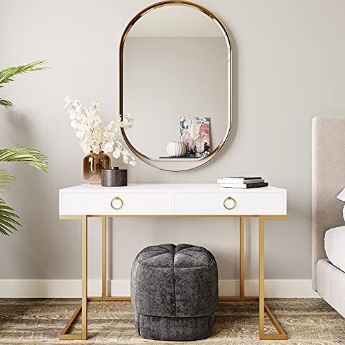 BELLEZE Modern Makeup Vanity Dressing Table or Home Office Computer Laptop Writing Desk with Two Storage Drawers, Wood Top, and Gold Metal Frame - Chelsea (White)
