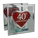 Portacandela in vetro a specchio per 40° anniversario di matrimonio