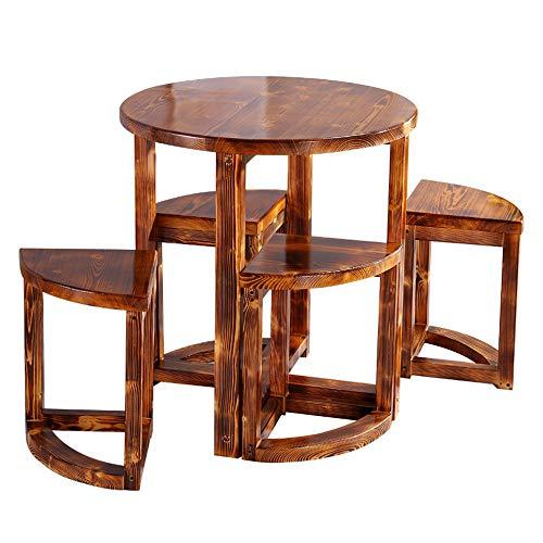 CHEN Juego de 5 sillas y Mesa de Comedor de Patio Redondo, Mesa de café Informal y Simple de Madera Maciza antiséptica para jardín al Aire Libre, Patio, Pub, Comedor de Cerveza