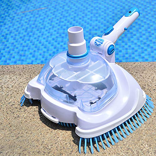 Vwlvrsco Durable Adjustable Angle Swimming Pool Suction Vacuum Cleaner Head Pond Cleaning Tool White Blue