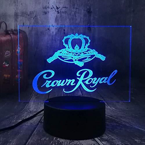 Crown Royal D-nachtlampje, logo, whisky, wijnwinkel, kantoor, jaar, kerstcadeau, USB-illusie, beste geschenk, LED-touch, Kerstmis, slaapkamer, decoratie, verjaardag, beste cadeau
