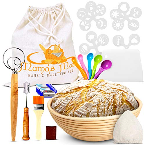 Banneton Proofing Basket, 9″ Round Bread Proofing Basket, Rattan Dough Bowl with Lame, Dough Scraper & Other Bread Making Tools, Bread Proofer Ideal for Sourdough & Artisan Bread (10 Baking Tools)