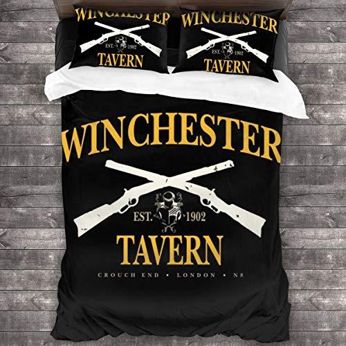 KUKHKU Winchester Tavern Crouch End Shaun Of The Dead - Juego de ropa de cama de 3 piezas con funda de edredón de 2016 x 180 cm, juego de cama decorativo de 3 piezas con 2 fundas de almohada