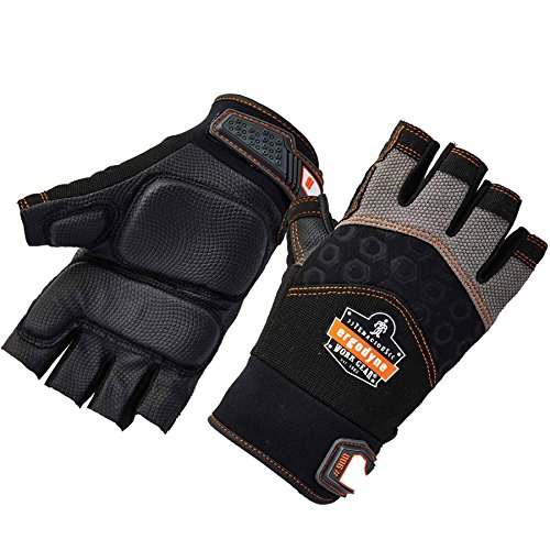 Ergodyne ProFlex 900 Impact Protection Work Gloves, Padded Palm, Half-Finger, Large,Black