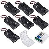 GTIWUNG 3V AA Caja de Soporte de Batería Caja de Almacenamiento de Batería de Plástico (2 Solts × 7 piezas)