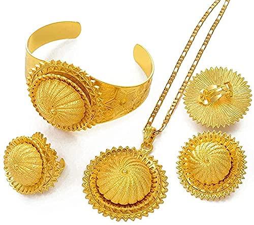 Collar de Cadena Grande etíope, Colgante, Anillo, Anillo, Brazalete, Conjunto de Joyas, Color Dorado, Eritrea Africana, Boda, Mujeres