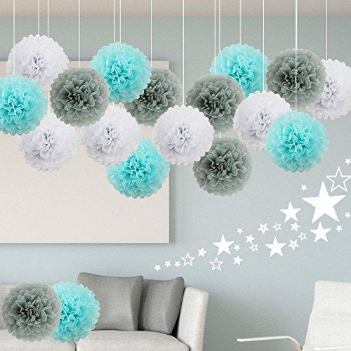 18 Piezas Pompones de Papel de Seda Blanco, Gris, Azul Claro, Bola de Flor Papel Decoración de Boda Cumpleaños Fiestas Navidad Baby Shower 25CM&35CM