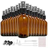 16 Pack 2oz Amber Glass Spray Bottle, Empty Amber Mist Spray Bottles with Fine Mist Sprayer & Dust Cap for Essential Oils, Perfumes(1 Brush,3 Extra Sprayers,2 Funnels,2 Droppers & 35 Labels Included)