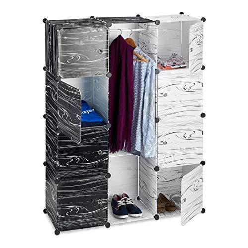 Relaxdays Armario Ropero Modular con 9 Compartimentos, Blanco y Negro, 37x110x145 cm