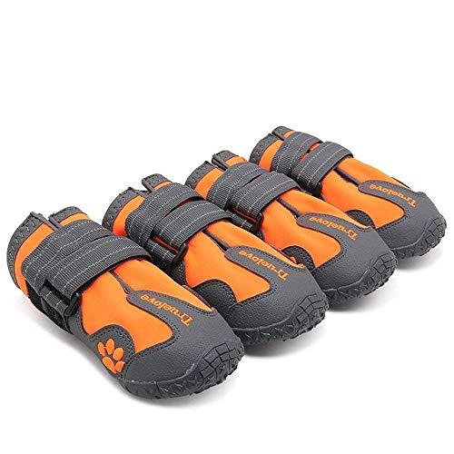 TRUE LOVE Dog Shoes Waterproof Anti-Slip Rain Boots with Reflective TLS3961 (Orange,6#)