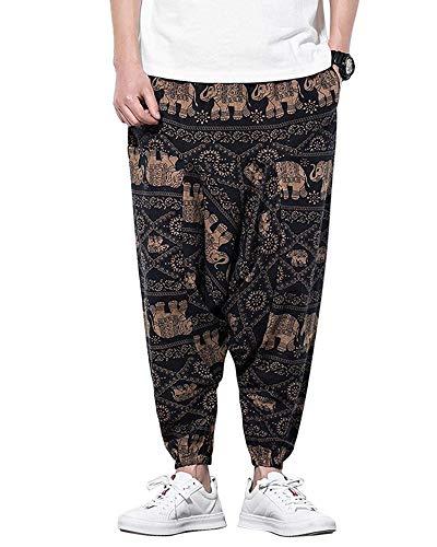 Springcmy Pantalones Harem para hombre, cintura elástica con estampado de bolsillos profundos, pantalones deportivos de pierna ancha para Hip Hop
