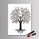 LianLe Libro de visitas de lienzo con diseño de árbol de huellas dactilares para boda, fiesta de cumpleaños con 2 almohadillas de tinta, D 40 x 60 cm