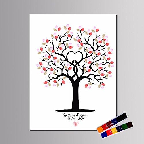 LianLe árbol de huellas dactilares pintura lienzo libro de invitados para boda fiesta de cumpleaños con 2almohadillas, D, 40*60cm