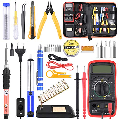 ETEPON 24PCS Lötkolben Set, 60W Lötstation Temperatur Regelbar mit Digital Multimeter ET007 (Elfenbein)