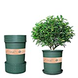 Budvibe Plastic Planters with Trays and Hole , 0.5Gallon Flower Pot Indoor Modern Decorative , 6PCS Nursery Pot/Garden Planter Pots for All House Plants(Green)