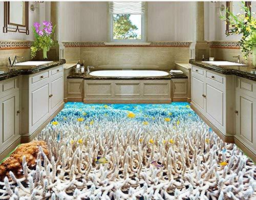 Suelo De Vinilo Pvc Personalizar El Papel Del Suelo Baldosas De Vinilo Ocean White Coral Tropical Fish Wallpaper Pvc Floor Vinyl Wallpaper-300_X_210Cm