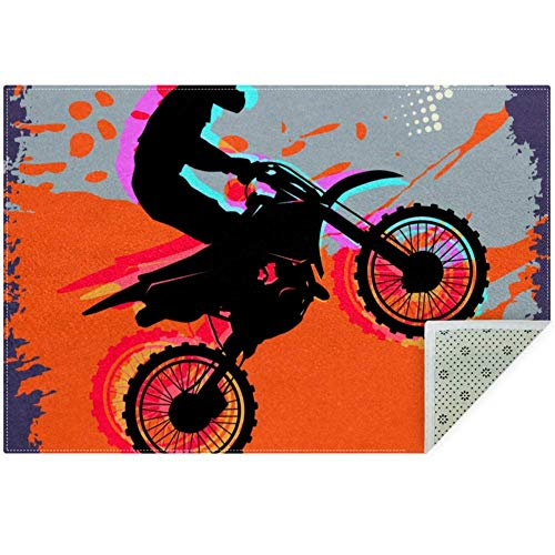 Bennigiry Weicher Motocross-Teppich, rutschfest, groß, für Wohnzimmer, Schlafzimmer, Spielzimmer, 152 x 91 cm, Polyester, Multi, 160x120cm/63x47in