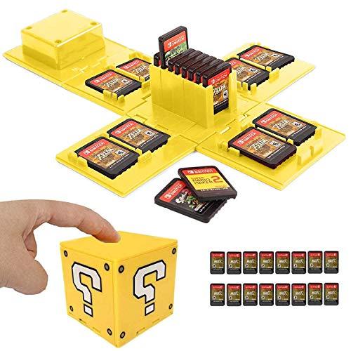 WIKEA Estuche para Tarjeta de Memoria Nintendo Switch, portatarjetas para Videojuegos con 16 Ranuras para Tarjetas (Signo de interrogación)