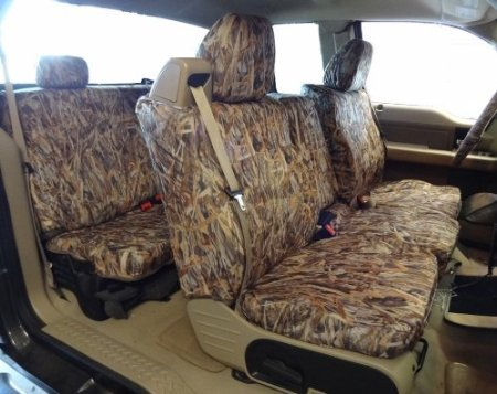 Exact Seat Covers, FD9 SA-C, 2004-2008 Ford F150 XLT Super Cab Complete Front and Rear Seat Set Custom Waterproof Exact Fit Seat Covers, Savanna Camo Endura