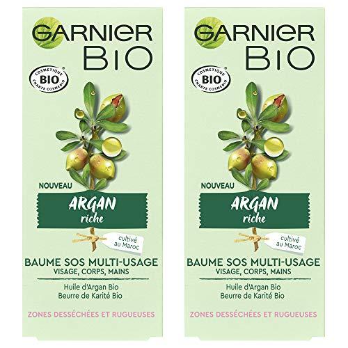 Garnier Bio - Baume SOS Multi-Usage - Argan Riche - Zones Desséchées et Rugueuses - Lot de 2 x 50 ml
