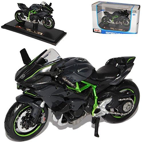 Maisto Kawasaki Ninja H2R Karbon Schwarz Ab 2014 Mit Sockel 1/18 Modell Motorrad mit individiuellem Wunschkennzeichen