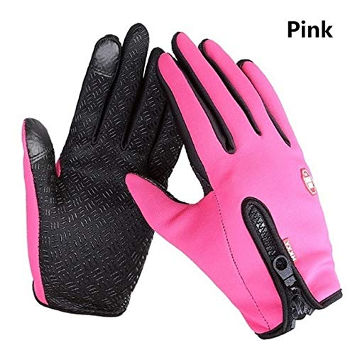 Winter Warm Ski Mens Gloves Women Cycling Touch Screen Waterproof Splash proof Windproof Fashion Black Gloves Ladies Non Slip-Pink-5-XL
