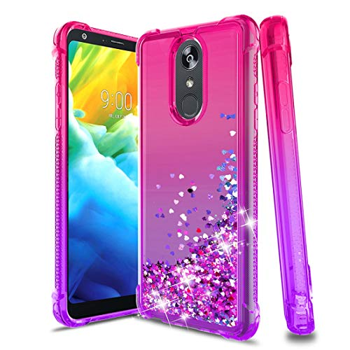LG Stylo 4 Handyhülle, LG Stylo 4 Plus, LG Q Stylus-Hülle, Glitzer Bling Flüssig Treibsand Silikon Dünn Anti-Rutsch Stoßfest Bumper Schutzhülle TPU Handyhülle für Mädchen Damen Rosa Lila