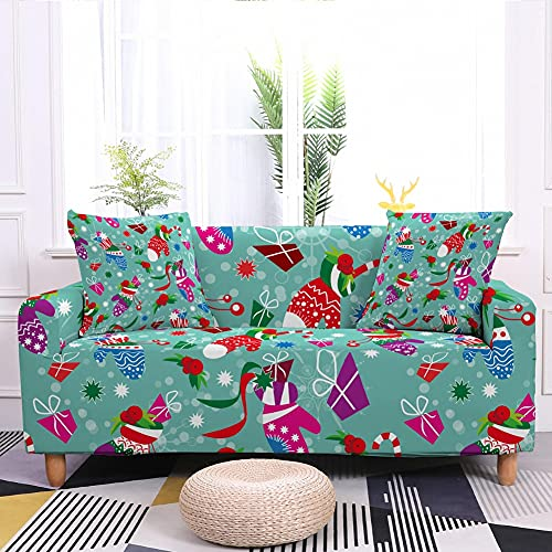 WXQY Funda de sofá elástica navideña Funda de sofá elástica decoración de Vacaciones Todo Incluido Funda de sofá Antideslizante A6 3 plazas