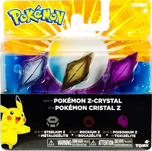 Pokémon - Pack de 3 Cristales Z-Ring, Metal/Roca/Veneno (Bizak 30699210)