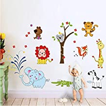 Wall Stickers - Animal Lion Elephant Wall Stickers Jungle Zoo Safari Decor Nursery Baby Kids Bedroom 9221. Decors Art - by PPL21-1 PCs